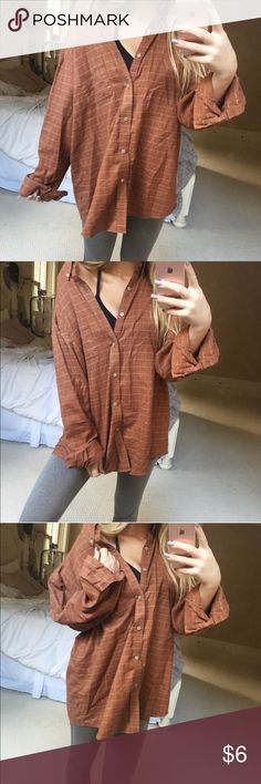 {van heusen} burnt orange flannel super cute got it from posh but not really my style :( dont be afraid to ask questions or make offers ☀️ Van Heusen Tops Button Down Shirts