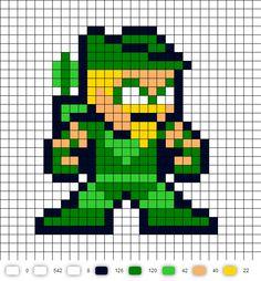 Green Arrow Update DC Perler Bead Pattern