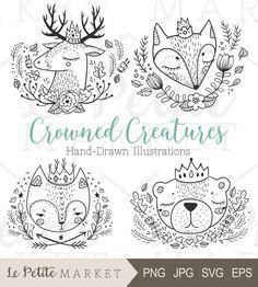 Cute Hand Drawn Forest Animals, Forest Animals with Crowns, Hand Drawn Woodland Animals, Woodland Creatures Portraits, Cat Fox Bear Deer