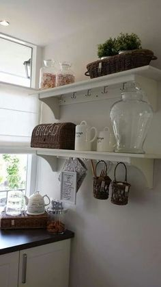 If I don't have space for open shelving this will look very cute too on the kitchen area side wall.