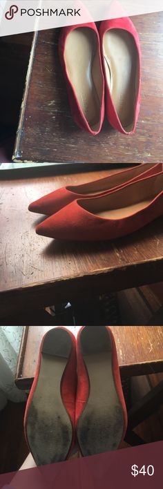 J. Crew Factory Poppy Red Suede Pointed Flats These flats are an eye-catching poppy red/orange color. They are made with a suede touch upper and feature a trendy pointed design. Please note these have been worn before and do have some scuff marks on the soles. J. Crew Factory Shoes Flats & Loafers