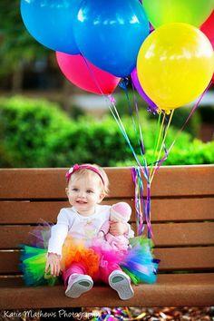 Rainbow tutu birthday tutu bright hot pink by MudpiesandPigtails