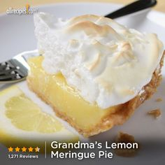 August 15- National Lemon Meringue Pie Day | Grandma's Lemon Meringue Pie Lemon Desserts, Lemon Recipes, Baking Recipes, Pie Recipes, Just Desserts, Delicious Desserts, Dessert Recipes, Lemon Pie Recipe, Dinner Recipes
