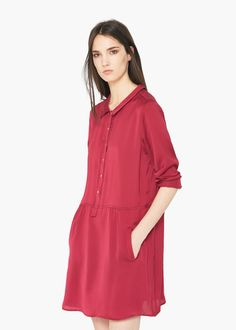 Shirt-style collar Light fabric Long buttoned sleeve Zip fastening on the front section Two side pockets Inner lining Manga, Shirt Style, Ready To Wear, Cold Shoulder Dress, Tunic Tops, Shirt Dress, My Style, Casual, Sleeves