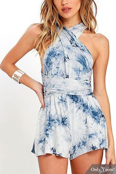 Blue Tie-Dye Convertible Playsuit with Elastic Waist -YOINS