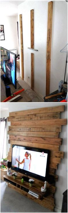 Now comes to fulfill the basic need of the home, which is the requirement of a TV stand. We have a good idea shown here for creating a TV stand, here you can also see how it is created. The pallets are pinned to the walls and then the TV stand is created by attaching the pallets to them on the wall.