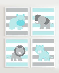 INSTANT DOWNLOAD -Nursery Grey and Teal set of 4 Safari more colors available via Etsy