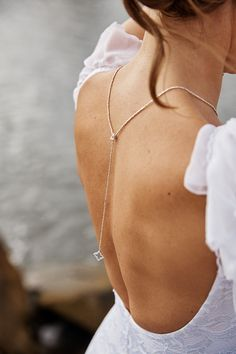 Delicate and elegant bridal Backdrop Necklace Back by Bloomarine