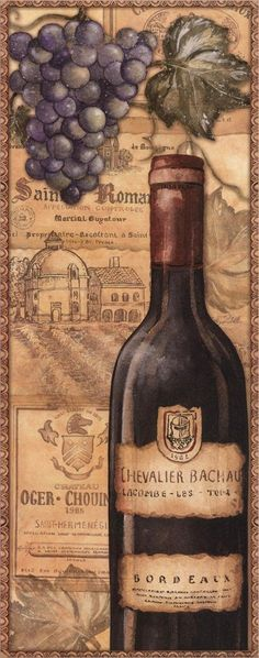 "Wine Bottle Vintage Typography Art - ""Vineyards Red"" by Charlene Audrey #grapes"