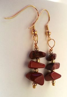 Carnelian Gemstone Chip Dangling Earrings by GracefulServices, $10.00