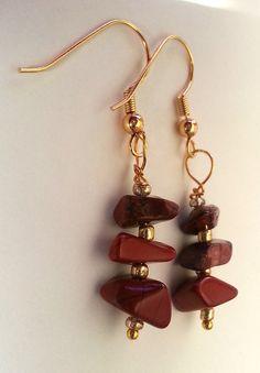 Red Jasper Gemstone Chip Dangling Earrings by GracefulServices, $10.00