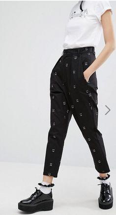 002959f9a5a Lazy Oaf - Happy Sad - Pantalon taille haute fuselé - Noir et blanc at  asos.com