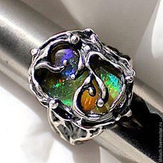 """Кольца ручной работы. Ярмарка Мастеров - ручная работа. Купить Кольцо с опалом """"Secret garden"""". Handmade. Разноцветный, кольцо с камнем"""