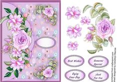 Lilac Envelope Card with Roses, - CraftsuPrint