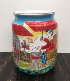 DeSimone Pottery Hand Painted Vase Mid Century Large Vase Italy Signed Ceramica…