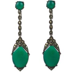 Deco Marcasite and Green Onyx Earrings ❤ liked on Polyvore