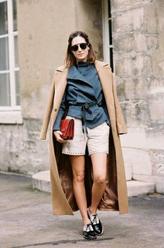 Bicolor brogues, studded shorts and a wool coat for spring // #fashion #style