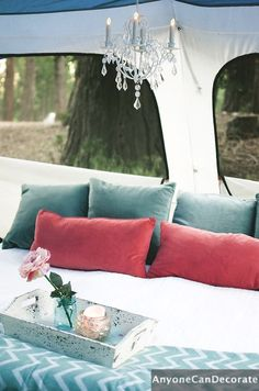 Gone Glamping - DIY Glamping Adventures, with fine linens, air beds, chandeliers, candles and touches of glam everywhere!