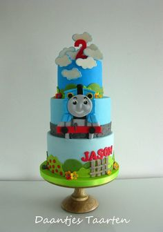 Thomas the Train Birthday Cake Thomas Birthday Cakes, Cartoon Birthday Cake, Thomas Birthday Parties, Thomas Cakes, Thomas The Train Birthday Party, 2 Birthday Cake, Trains Birthday Party, Train Party, Third Birthday