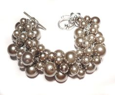 Grey Pearls Cluster Bracelet Chunky Bracelet by IskraCreations, $16.00