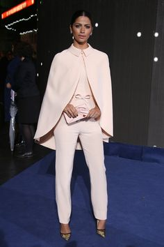 Camila Alves. 2014 fashion style red carpet. minimal monochromatic light pink cape. womens fashion. womens outfit ideas.