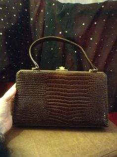 Vintage brown #crocodile frame bag. 1940s 1950s #retro patent handbag chic #purse,  View more on the LINK: http://www.zeppy.io/product/gb/2/152390044051/