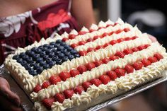 A classic for the 4th of July (Independence Day).  You can use anything for the cake underneath, including brownies! ;)