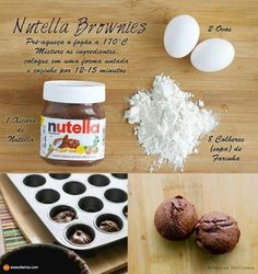 de Nutella com 3 ingredientes brownie 3 ingredientes - Brownie Nutella Cupcakes, Diy Nutella, Easy Nutella Brownies, How To Make Nutella, Nutella Muffins, Brownie Cupcakes, Nutella Cookies, Cute Food, Yummy Food