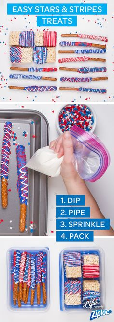 These red, white and blue desserts are perfect for Memorial Day or Fourth of July parties and picnics. It's a simple and easy baking idea that kids can help with, too. To make the recipe, dip pretzels and marshmallow cereal treats into melted red and blue candy coating. For the piping technique, fill a Ziploc® bag with melted white chocolate, snip the corner and pipe stripes onto treats. Add star-shaped sprinkles. Let dry and pack them to go. Arrange in a flag shape for a 4th of July…
