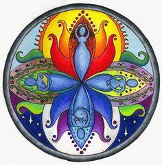 Chamanismo y Wicca -- I -- Mandala Art, Mandala Meditation, Lotus Mandala, Kaleidoscope Art, Sacred Feminine, Divine Feminine, Goddess Art, Book Of Shadows, Wiccan