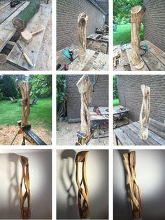 Doppelhelix: Skulptur aus Obstbaum