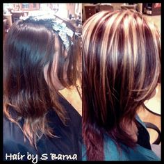 Hair by barna..after is bright blonde highlights with high def red violet all over.   (LOVE the color)