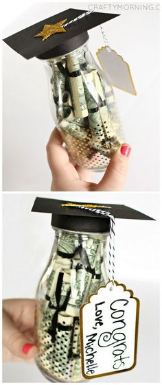 Glass Bottle Gift (Diploma Money) - Crafty Morning Graduation Glass Bottle Gift (Dollar bill diplomas) - perfect for high school or college grad gifts!Graduation Glass Bottle Gift (Dollar bill diplomas) - perfect for high school or college grad gifts! High School Graduation Gifts, College Graduation Gifts, Graduation Celebration, Graduation Party Decor, Grad Parties, Graduation Ideas, Graduation Presents, Graduation Quotes, 5th Grade Graduation