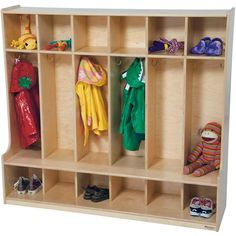 Wood Designs' Six-Section Coat Locker is perfect for storing backpacks, coats, boots and lunches.