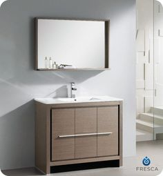 $1426 includes mirror and delivery - Allier 40-inch W Vanity in Grey Oak Finish with Mirror - Home Depot, ships in 14-21 days