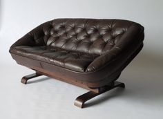 Brazilian looking 1970s small leather sofa. Status: Sold by merzbau