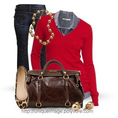 Red sweater, chambray shirt, boot cut jean, and leopard flat.