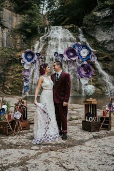 Moody and Edgy Vow Renewal Inspiration | Photography by Mindy Hulett Photo Wedding Themes, Wedding Photos, Wedding Day, Wedding Dresses, Red Velvet Suit, Diy Wedding Projects, Ceremony Backdrop, Newlyweds, Vows