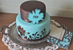Hand-Painted Brown and Teal Cake