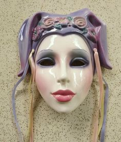 Clay Art Ceramic Face Wall Mask, Decorative Jester Wall Hanging, very *RARE*