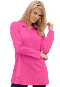 BESTSELLER! Roamans Women`s Plus Size Polo Long S... $18.93