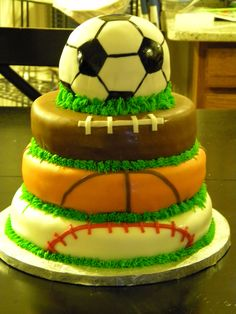 Sports Theme Cake - Inspired by a photo I saw on here.  All covered in fondant.
