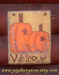 Hand Painted Decorative Slate  Primitive Pumpkin by Pipberrytree, $22.00
