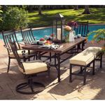 A little fancier design, but with a bench which may be good for us. Meridian 6-piece Patio Dining Set