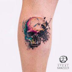 Watercolor Skull for Badass Tattoo Idea for Women