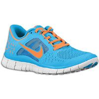 Nike Free Run + 3 - Women's - Blue Glow/Pure Platinum/Total Orange