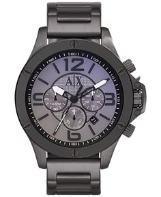 A|X Armani Exchange Men's Chronograph Gunmetal Ion-Plated Stainless Steel Bracelet Watch 48mm AX1514