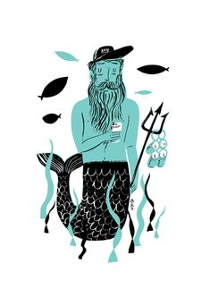 Nicholas John Frith, Illustrator, People, Naive, Colour, Hand Drawn, Texture, B&W, Wash, Beer, Trident, Merman, Water, Fish