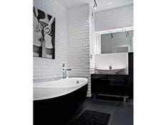 Aranżacja łazienki wystrój nowoczesny w kolorach biały, czarny - projekt wnętrza #5549397, Homplex