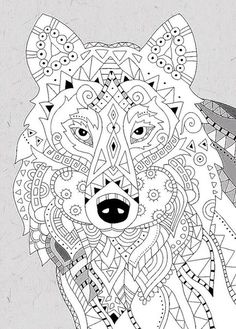 Zentangle Animal Adult Coloring Colouring Wolves Fox Fractals Sketching Templates Mary